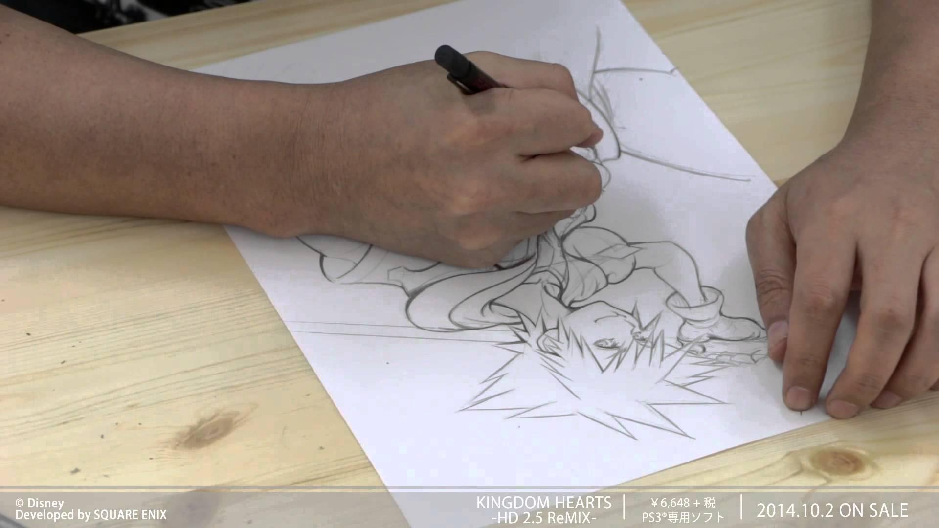 野村哲也氏が『キングダムハーツ』ソラのイラストを完成させるまでのメイキングムービー